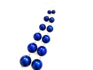 Dangly Long Earrings in Dark Blue