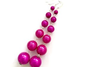 Dangly Long Earrings in Fuchsia