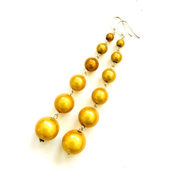 Dangly Long Earrings in Golden Yellow