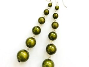 Dangly Long Earrings in Moss Green