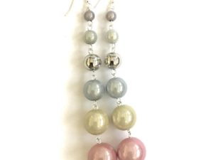 Dangly Long Earrings in*Pastel Metallic