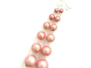 Dangly Long Earrings in Pink