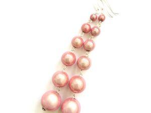 Dangly Long Earrings in Pink