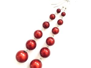 Dangly Long Earrings in Red