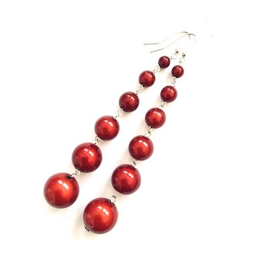Dangly Long Earrings in Red