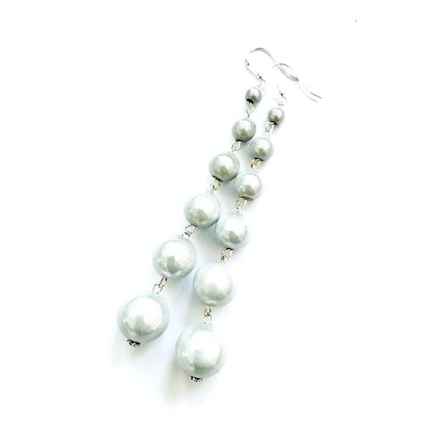 Dangly Long Earrings in White