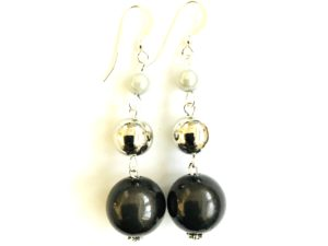 Short Dangly in Black&White Metallic Earrings