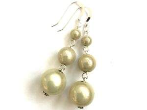 Short Dangly Cream Earrings