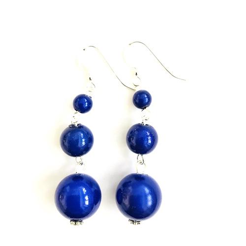 Short Dangly Dark Blue Earrings
