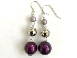 Short Dangly Dark Purple & Light Violet Metallic Earrings