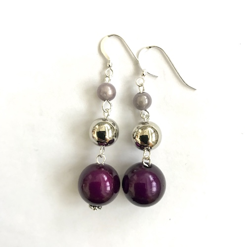 Short Dangly Dark Purple & Light Violet Metallic Earrings