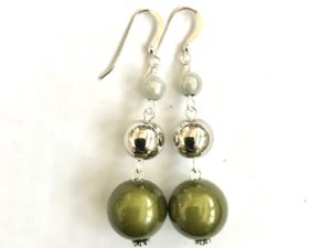 Short Dangly Moss Green & White Metallic Earrings