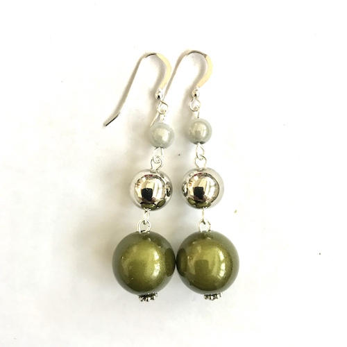 Short Dangly Moss Green & White Metallic Earrings