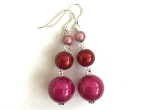 Short Dangly Berry Bright Colored Earrings