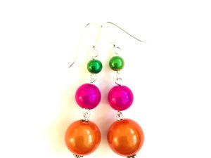 Short Dangly Earrings in*Bright Multicolor