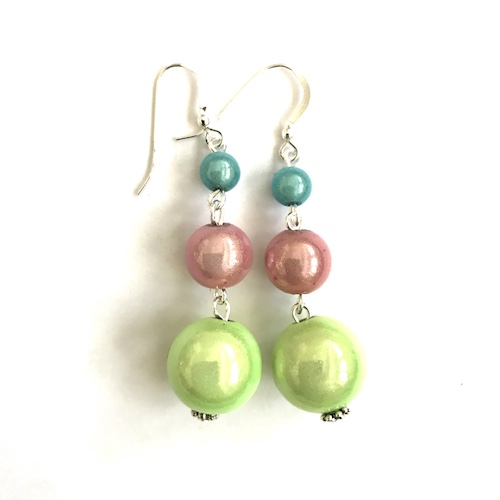Short Dangly Pastel Multicolor Earrings
