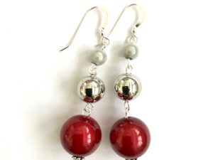 Short Dangly Red & White Metallic Earrings