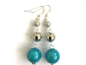 Short Dangly Turquoise & White Metallic Earrings
