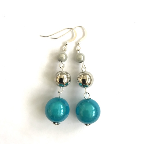 Short Dangly Turquoise & White Metallic Earrings