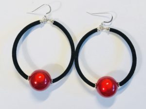 Velvet Hoops in Red