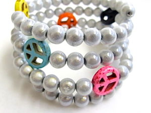 Peace Bracelet in White & Multicolor