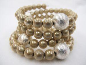 Brushed Silver Bracelet  in Cream
