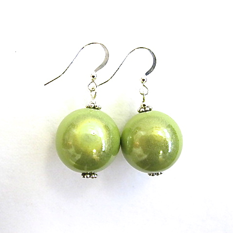 Anna Earrings in Lime Green