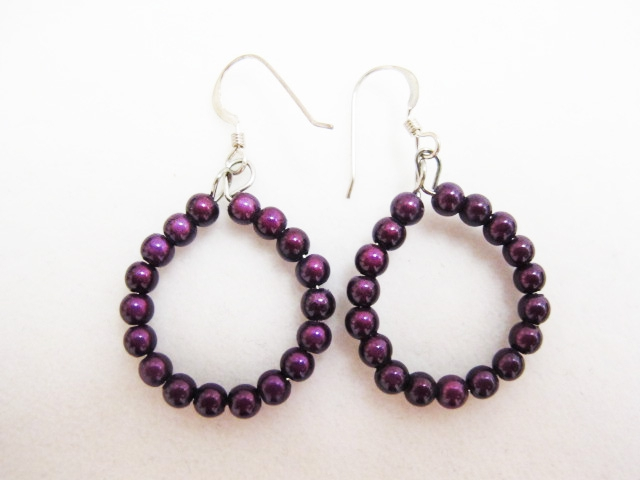 Small Beaded Hoop Earrings in Dark Purple