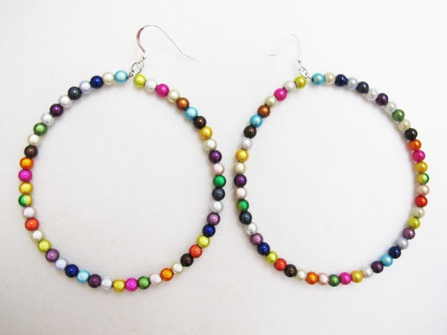 Giant Beaded Hoop Earrings in Multicolor