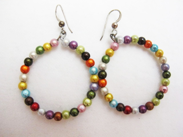 Beaded Hoop Earrings in Multicolor