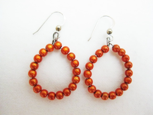 Small Beaded Hoop Earrings in Orange