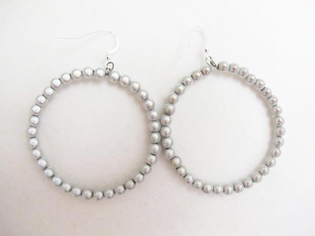 Beaded Hoop Earrings in White