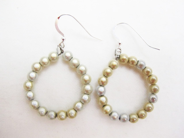 Small Beaded Hoop Earrings in White & Cream