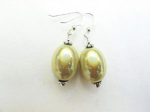 Large Olive Earrings in Cream