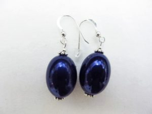 Large Olive Earrings in Dark Blue