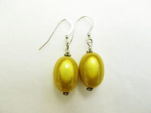Large Olive Earrings in Lemon Yellow