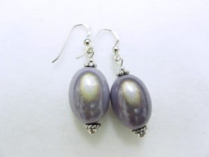 Large Olive Earrings in Light Blue