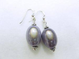 Large Olive Earrings in Light Blue