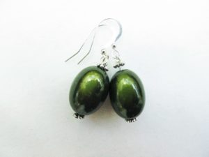 Large Olive Earrings in Moss Green