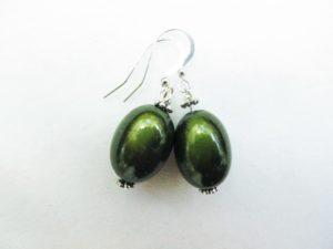Large Olive Earrings in Moss Green