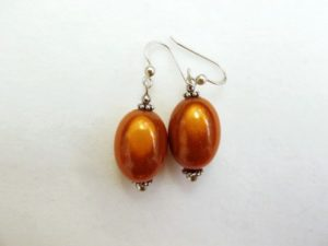 Large Olive Earrings in Orange