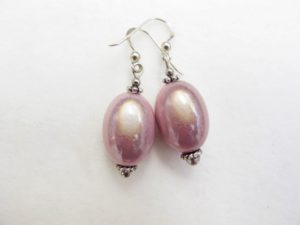 Large Olive Earrings in Pink