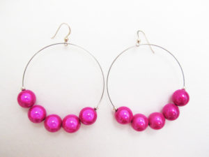 Metal Hoop Earrings in Fuchsia