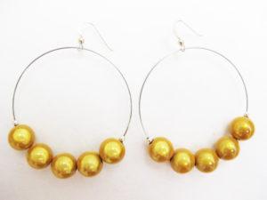 Metal Hoop Earring in Golden Yellow