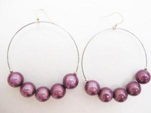 Metal Hoop Earrings in Purple