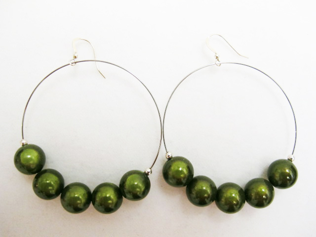Metal Hoop Earrings in Moss Green