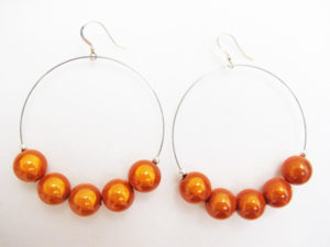 Metal Hoop Earrings in Orange