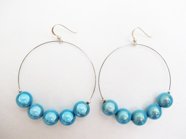 Metal Hoop Earrings in Turquoise