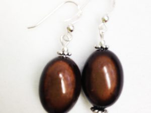 Large Olive Earrings in Dark Brown