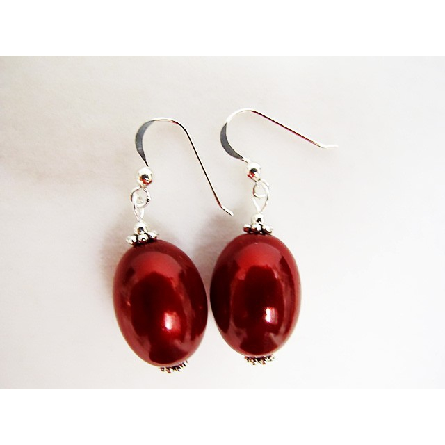 Large Olive Earrings in Red